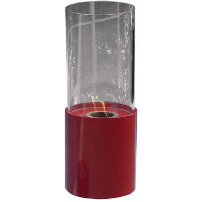 10 in. Dia Tabletop Ethanol Doopio Rouge Fireplace in Red