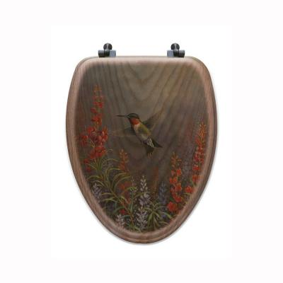 Summer Hummer Elongated Closed Front Wood Toilet Seat in Oak Brown Product Photo