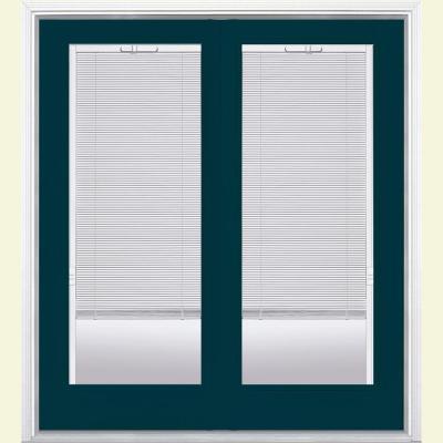Prehung Mini Blind Fiberglass Patio Door with Brickmold in Vinyl Frame