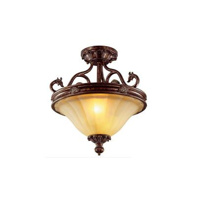 Hampton Bay Freemont Collection 2-Light Semi-Flush Antique Bronze Ceiling Fixture-DISCONTINUED