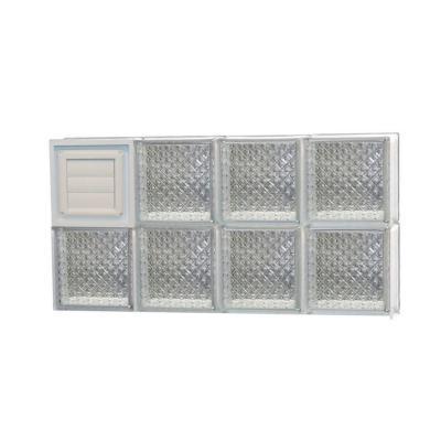 Frameless Diamond Pattern Glass Block Window with Dryer Vent