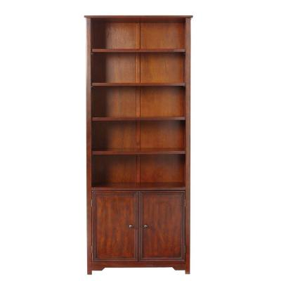 Home Decorators Collection Oxford 5 Shelf Open Bookcase With Cabinet In Chestnut 3450300970