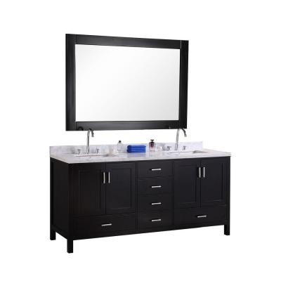 Design Element London 72 in. W x 22 in. D Vanity in Espresso with Vanity Top in Carrara White Marble