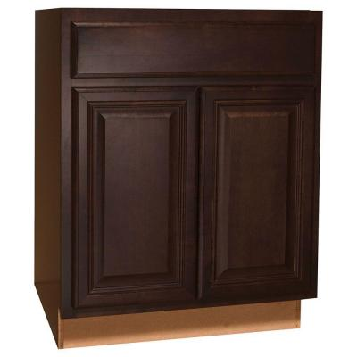 27x34.5x24 in. Cambria Base Cabinet with Ball-Bearing Drawer Glides in Java Product Photo
