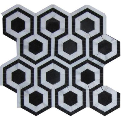 Kosmos Black and Asian Statuary Hexagon 11-3/4 in. x 11-3/4 in.