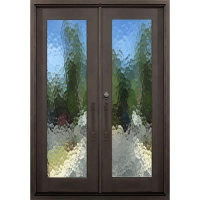 64 in. x 82 in. Marco Island Dark Bronze Left-Hand Outswing Painted Iron Prehung Front Door Privacy Glass and Hardware Product Photo