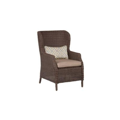 Vineyard Patio Cafe Chair in Sparrow with Bazaar Lumbar Pillow (2-Pack)