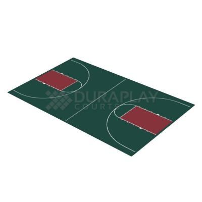 DuraPlay 44 ft. 3 in. x 75 ft. 6 in. Hunter Green and Burgundy Full Court Basketball Kit