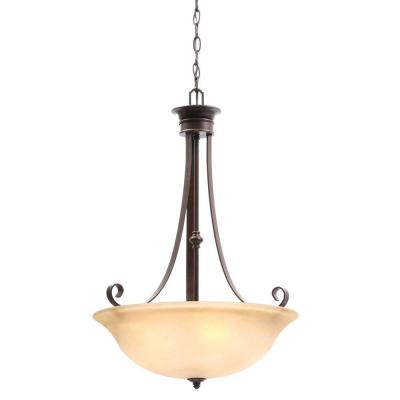 Hampton Bay Essex 3-Light Aged Black Pendant