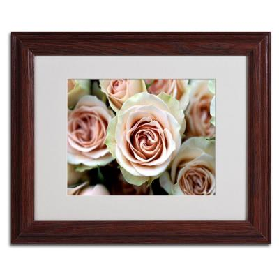 null 11 in. x 14 in. Pale Pink Roses Matted Framed Art
