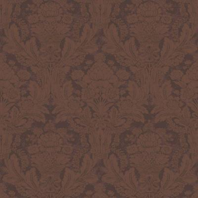 The Wallpaper Company 56 sq. ft. Billy Baldwin Brown Damask Wallpaper-DISCONTINUED