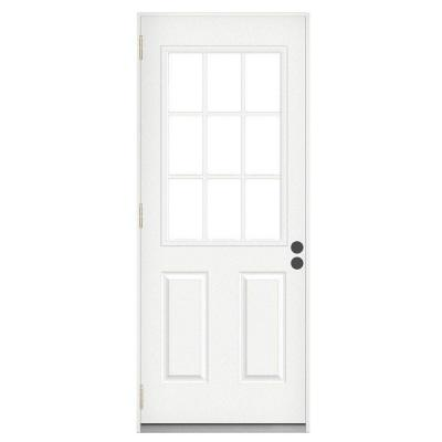 Jeld wen 72 in x 80 in white right hand outswing french for Outswing french doors home depot