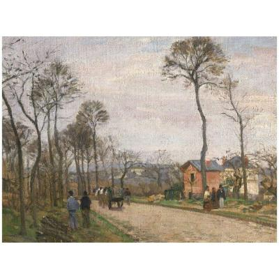26 in. x 32 in. The Road from Louveciennes 1870 Canvas