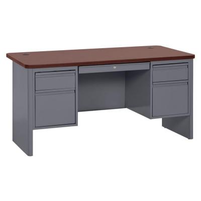 700 Series Double Pedestal Teachers Desk in Charcoal/Mahogany