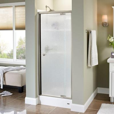 Silverton 31-1/2 in. x 66 in. Semi-Framed Pivot Shower Door in Nickel with Rain Glass Product Photo