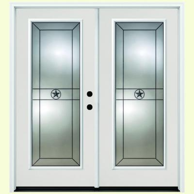 64 in. x 80 in. Alamo White Primer Prehung Primed Left-Hand Inswing Full Lite Fiberglass Patio Door Product Photo