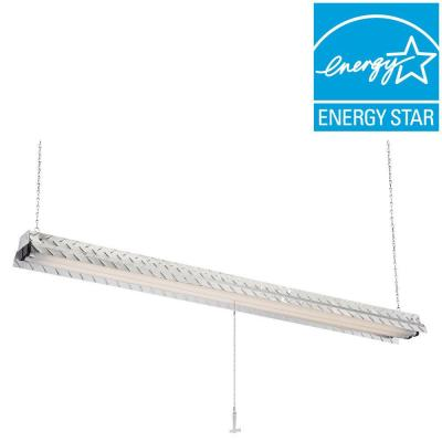 Commercial Electric Steel Plate 2-Lamp Hanging Fluorescent Silver ShopLight