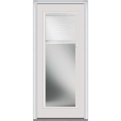30 in. x 80 in. Internal Mini Blinds Clear Glass Full Lite Primed White Steel Prehung Front Door Product Photo