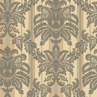 The Wallpaper Company 56 sq. ft. Grey and Beige Suede Damask Stripe Wallpaper