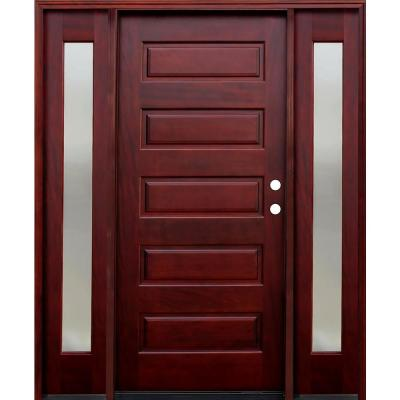 70 in. x 80 in. Contemporary 5-Panel Stained Mahogany Wood Prehung Front Door with 14 in. Mistlite Sidelites Product Photo