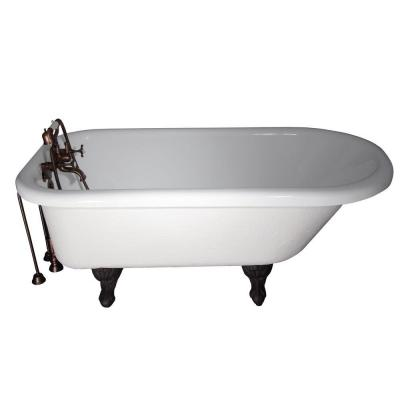 Barclay Products 5.6 ft. Acrylic Ball and Claw Feet Slipper Tub in White with Oil Rubbed Bronze
