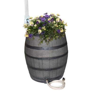 RESCUE 50 Gal. Gray Flat Back Whiskey Rain Barrel with Integrated Planter and Diverter System with Black Accent Bands