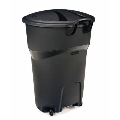 Rubbermaid Roughneck 32 Gal. Black Wheeled Trash Can with Lid