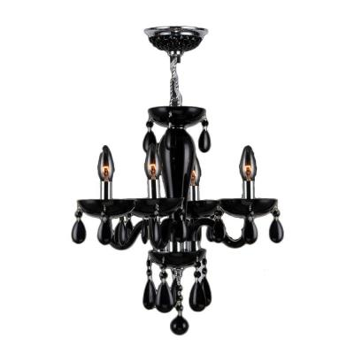 Gatsby Collection 4-Light Chrome and Black Crystal Chandelier