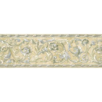 6.83 in. x 15 ft. Blue and Beige Floral Scroll Border Product Photo
