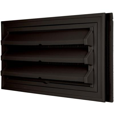 9-3/8 in. x 17-1/2 in. Foundation Vent Kit with Trim Ring and Optional Fixed Louvers (Molded Screen) in #002 Black Product Photo