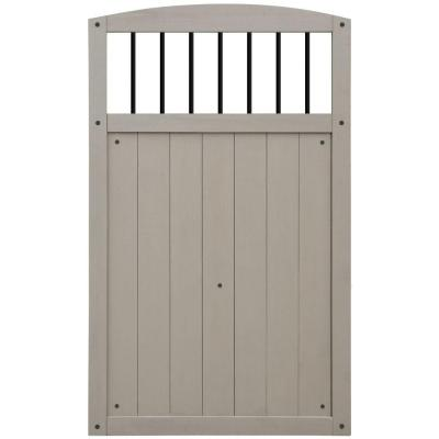 3-1/2 ft. x 5-3/4 ft. Grey Fence Gate with Balusters
