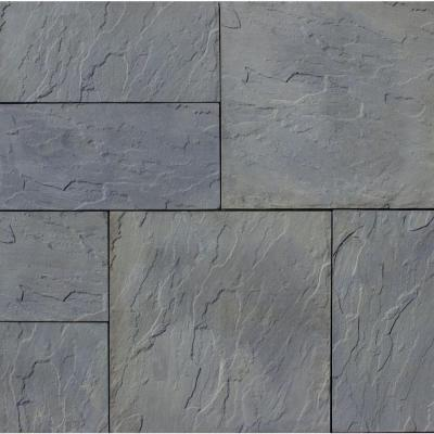 Patio-on-a-Pallet 12 in. x 24 in. and 24 in. x 24 in., 48 sq. ft. Concrete Gray Variegated Basketweave York-Stone Pavers Product Photo