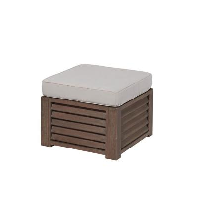 Barnside Shorea Wood Ottoman with Polyester Cushion in Aged Finish Product Photo
