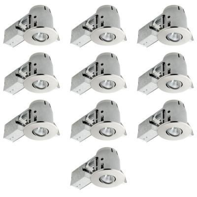 4 in. Brushed Steel Recessed Lighting Kit Combo (10-Pack)