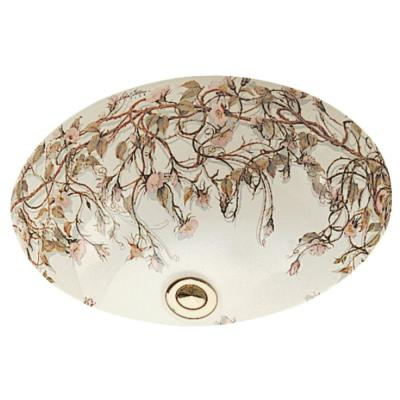 Caxton Vitreous China Undermount Bathroom Sink in Biscuit with Briar Rose