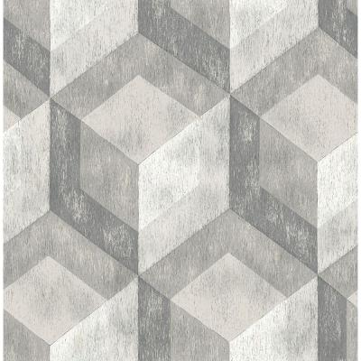 8 in. W x 10 in. H Ash Rustic Wood Tile Geometric Wallpaper Sample Product Photo