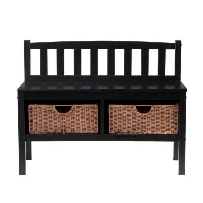 Home Decorators Collection 2-Basket Storage Bench in Black