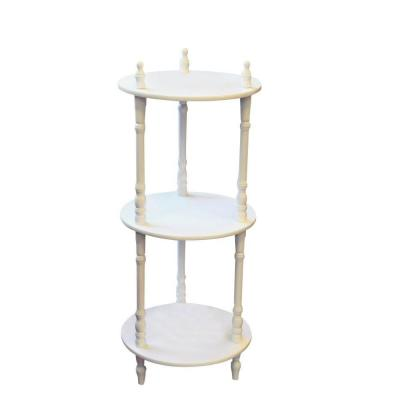 megahome 3 tier round white decorative etagere shelf. Black Bedroom Furniture Sets. Home Design Ideas