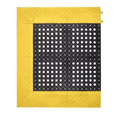 NoTrax Diamond Flex-Lok Black with Yellow Safety Border 30 in. x 36 in. PVC Anti-Fatigue/Safety Mat