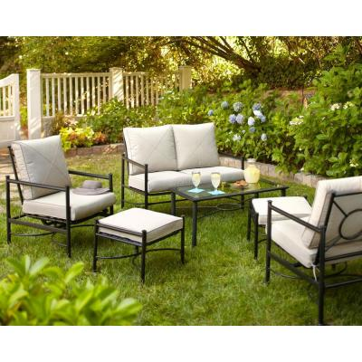 Hampton Bay Barnsley 4-Piece Patio Deep Seating Set with Textured Silver Pebble Cushions-DISCONTINUED