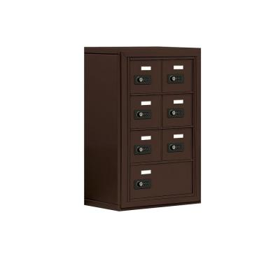 Salsbury Industries 19000 Series 17.5 in. W x 25.5 in. H x 9.25 in. D 6 A / 1 B Doors S-Mount Resettable Locks Cell Phone Locker in Bronze