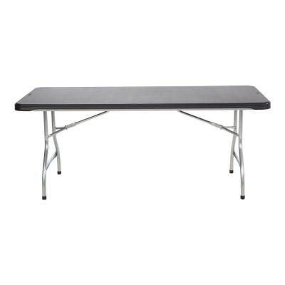 6 ft. Black Commercial Stacking Folding Table (4-Pack)
