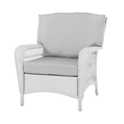 Martha Stewart Living Charlottetown White All-Weather Wicker Patio Lounge Chair with Custom Cushion