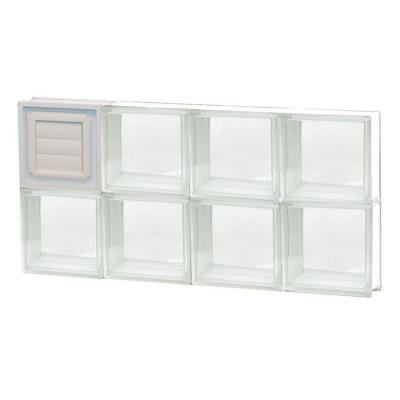 Frameless Clear Glass Block Window with Dryer Vent