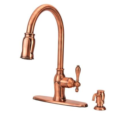 Fontaine Chloe Single-Handle Pull-Down Sprayer Kitchen Faucet with Soap Dispenser in Antique Copper-DISCONTINUED