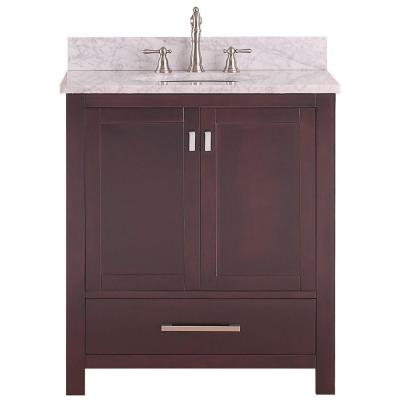Avanity Modero 31 in. W x 22 in. D x 35 in. H Vanity in Espresso with Marble Vanity Top in Carrera White and White Basin