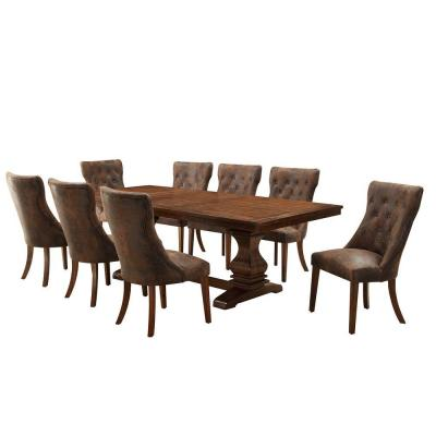 Regina 9-Piece Extendable Wood Dining Set in Weathered Oak