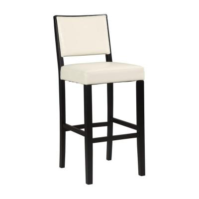 Linon Home Decor Zoe White Solid Wood Pu Bar Stool In