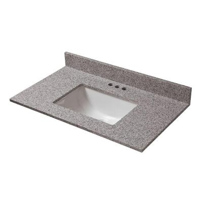 Home Decorators Collection 25 in. W x 22 in. D Granite Vanity Top in Napoli with White Single Trough Basin