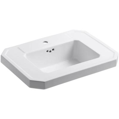 Kathryn 27 in. Fireclay Pedestal Sink Basin in White with Overflow